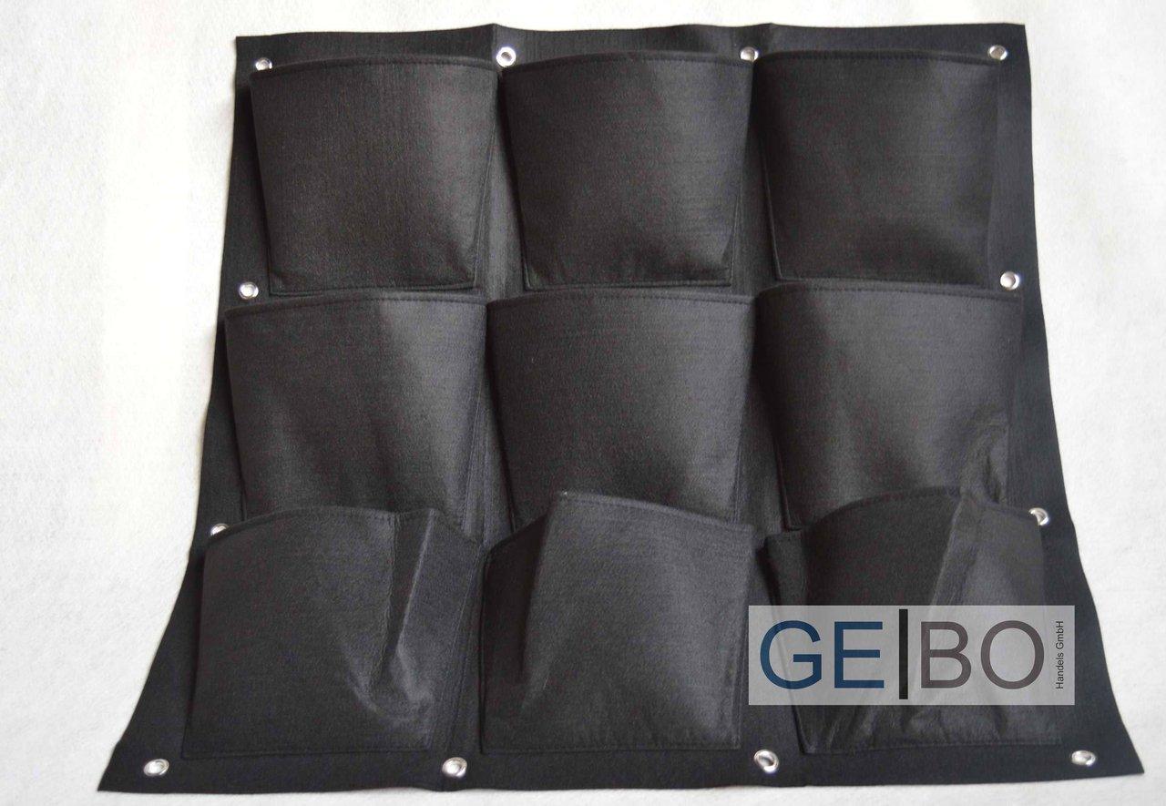 pflanzenwand schwarz mit 9 taschen teich und gartenbau. Black Bedroom Furniture Sets. Home Design Ideas